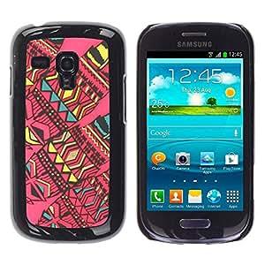 TopCaseStore / la caja del caucho duro de la cubierta de protección de la piel - American Art Quilted Pink - Samsung Galaxy S3 MINI NOT REGULAR! I8190 I8190N