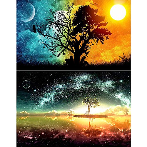 2 Packs 5D DIY Diamond Painting Set Decorating Wall Stickers For Living Room Full Square Drill Starry Sky And Sun & Moon (30X40CM/12X16inch)