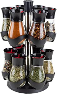 Home Basics Revolving 12-Jar Two Tier Rack Organizer Set Spinning Spices, Herbs, Seasoning Kitchen Countertop Storage