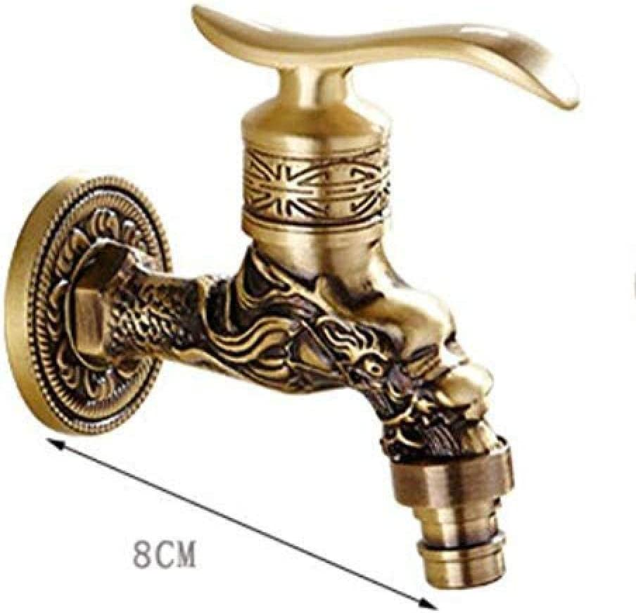 KONGZIR Fashion Faucet Tap Carved Wall Mountbibcock Brass Retro Tap Decorative Outdoor Garden Taps Washer Mop Antique Toilet Faucet