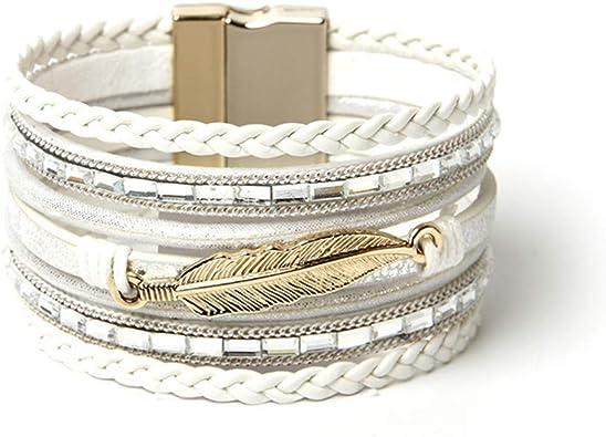 bracelet cuir femme large