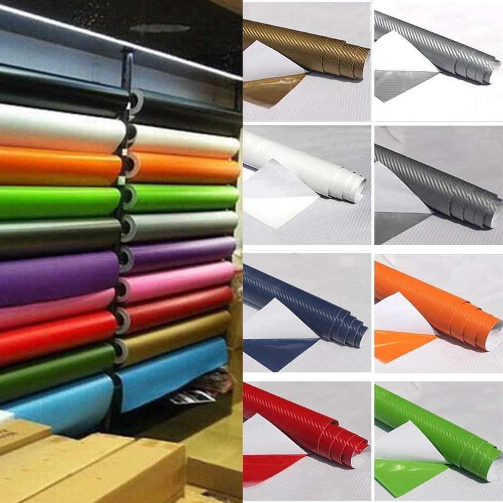 3D Vinilo Fibra de Carbono Adhesivo Cubierta - Relieve 3D Cuero Construcción Autoadhesivo Impermeable para Coche Adhesivo Rollo para Interior/Exterior - Verde, 30x129cm: Amazon.es: Bricolaje y herramientas