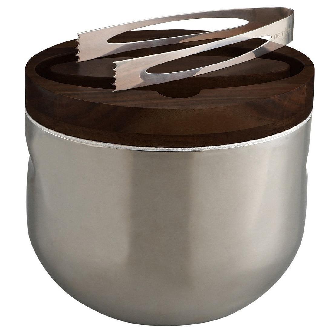 Nambe Mikko Ice Bucket with Tongs, Espresso
