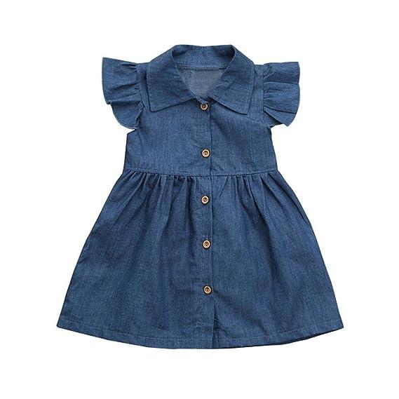 PAOLIAN Vestido del Dril de algodón para Bebe niñas Verano 2018 Fiestas Princesa Vestidos Sólido Botones Sin Manga bautiz Ropa para Bebe niñas de 12 Meses ...