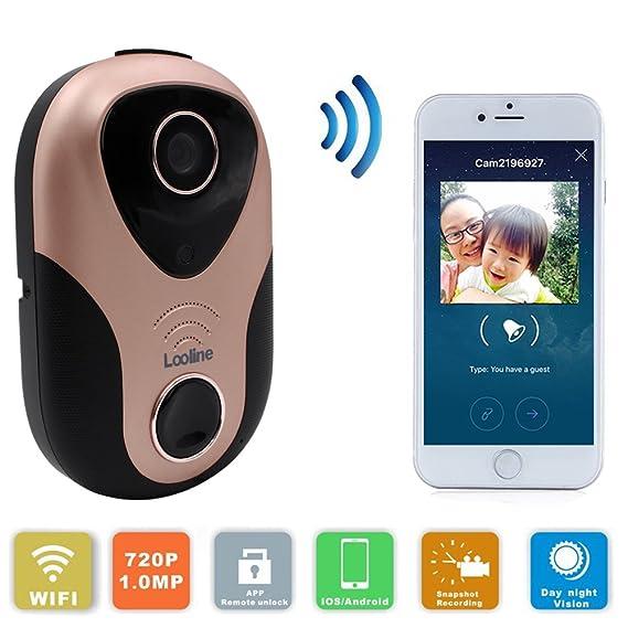 Exceptional Security Camera Doorbell, Looline Remote Unlock Wireless Video Doorbell  720P Smart Door Viewer Support 2