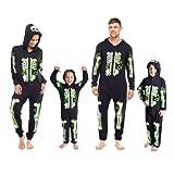 Mens, Ladies & Childrens Skeleton Glow in the Dark Halloween Hooded Onesie Jumpsuit Costume