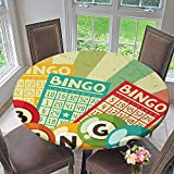 Round Polyester Tablecloth Table Cover Bingo Game with Ball and Cards Pop Art Stylized Lottery Hobby Celebration Theme for Most Home Decor 67''-71'' Round (Elastic Edge)