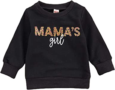 DuAnyozu Infant Toddler Baby Girl Long Sleeve Shirts Mamas Girl Pullover Sweatshirt Tops Fall Outfit Casual Clothes