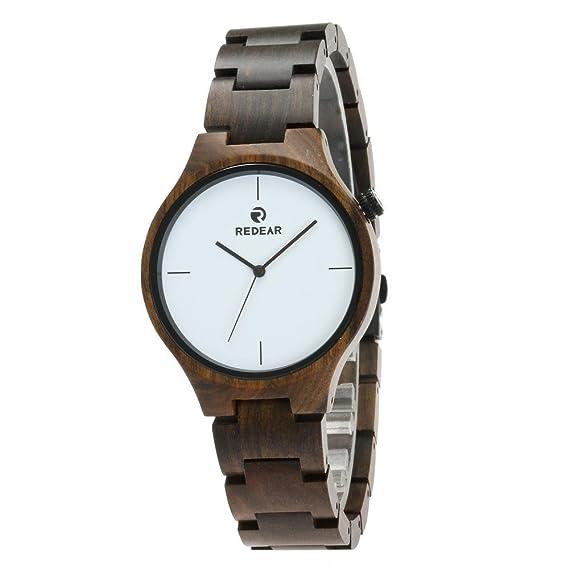 REDEAR Diseño minimalista Reloj fabricado con madera de origen sostenible Calidad superior a un precio asequible: Amazon.es: Relojes