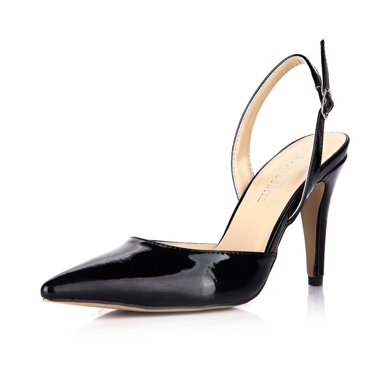 Klicken Sie auf    Frauen Sommer neue Produkte in die Spitzen der großen Schwarz lackiert der Frauen Leder nach dem high-heel Schuhe 55ee41