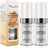 TLM Foundation Cream, Colour Changing Liquid Foundation Hides Wrinkles & Lines, BB Cream Makeup Base Concealer Cover Moisturi