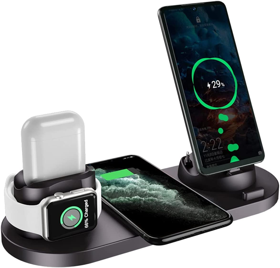 Charging Station for Multiple Devices, 6 in 1 Wireless Charging Stand for Apple Watch Airpods Pro iPhone 12/11/11 Pro Max/XS Samsung Galaxy S10/S9/S8/S7