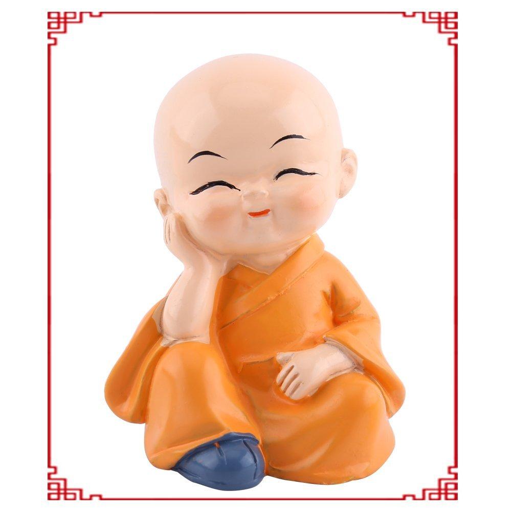 Mignon Bouddha Statue Petit Moine Figurine Statue R/ésine Artisanat Ornement Automobile D/écoration de La Maison 4 Pcs