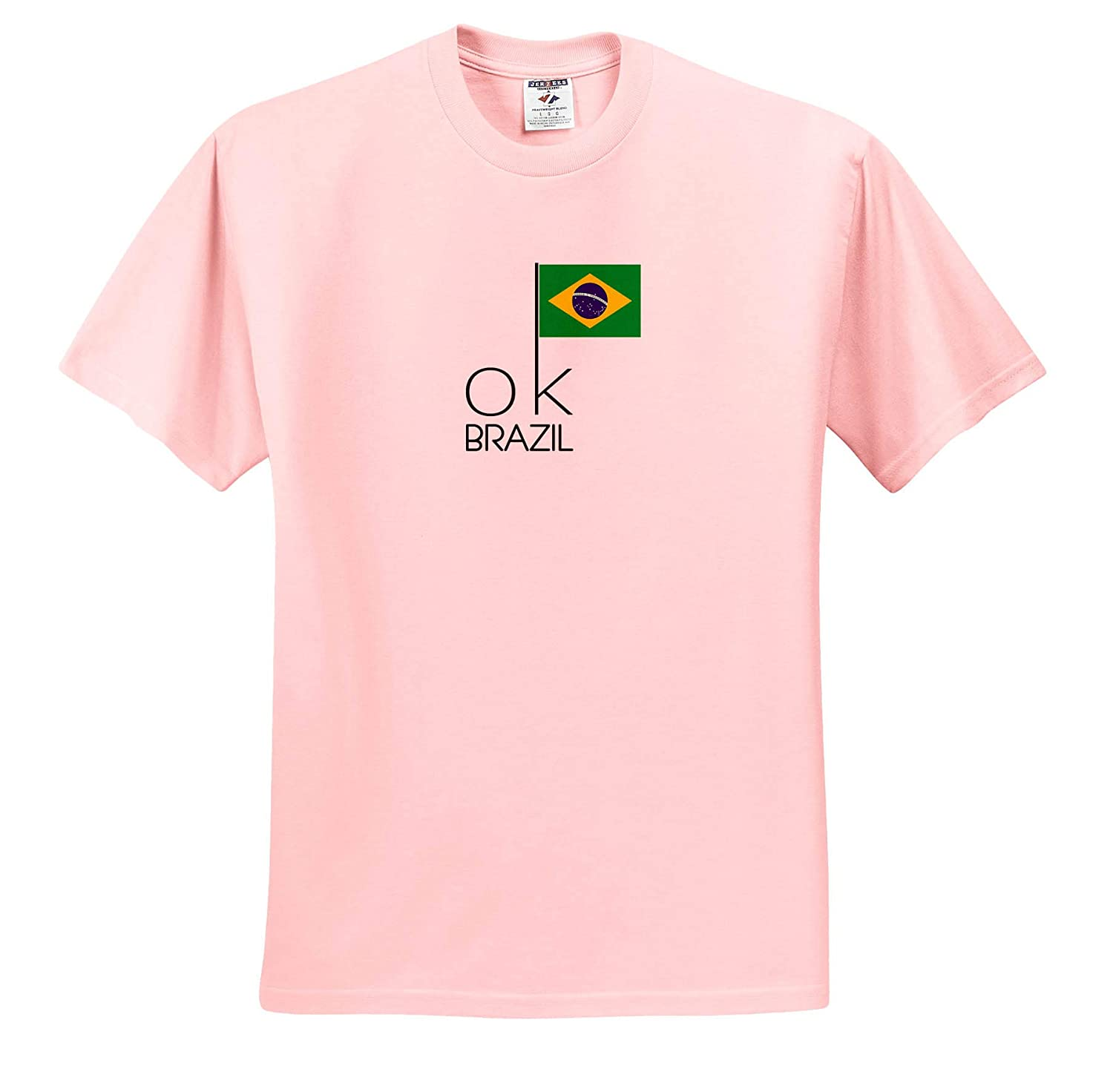 OK Country Decorative Text OK Brazil and an Image of The National Flag 3dRose Alexis Design T-Shirts