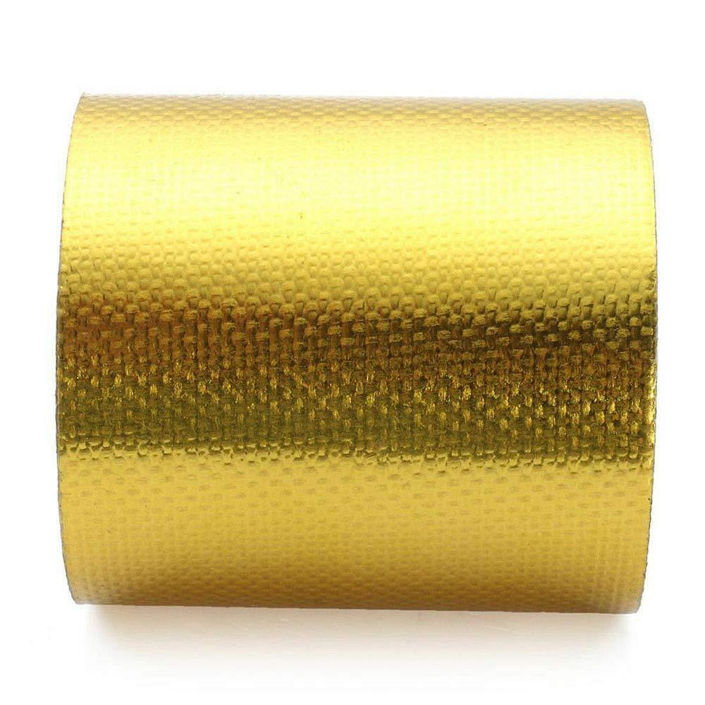 MASO Cinta Adhesiva de Aluminio Dorado para conductos de 9 x 5 cm Cinta Protectora de Calor de Alta Temperatura para tuber/ía de Vapor de Coche