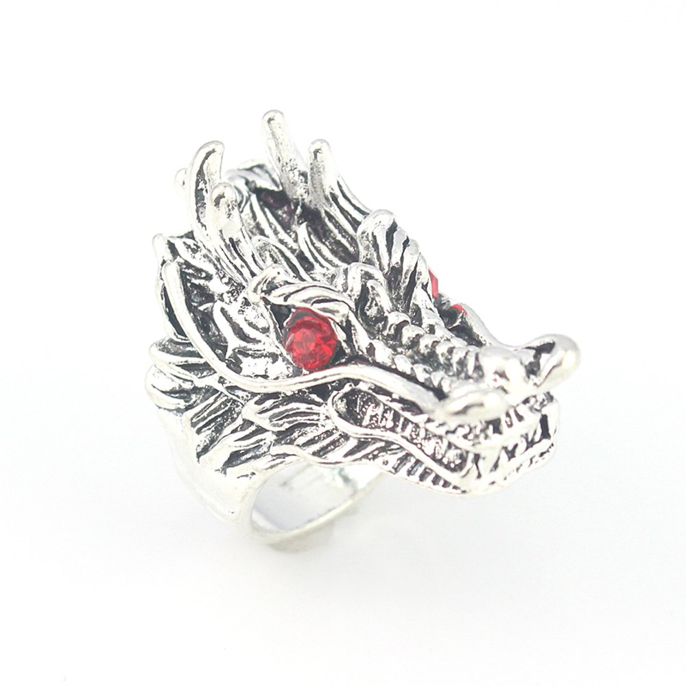 DRAGON BEST QUALITY GARNET FASHION JEWELRY .925 SILVER PLATED RING 9 S23480