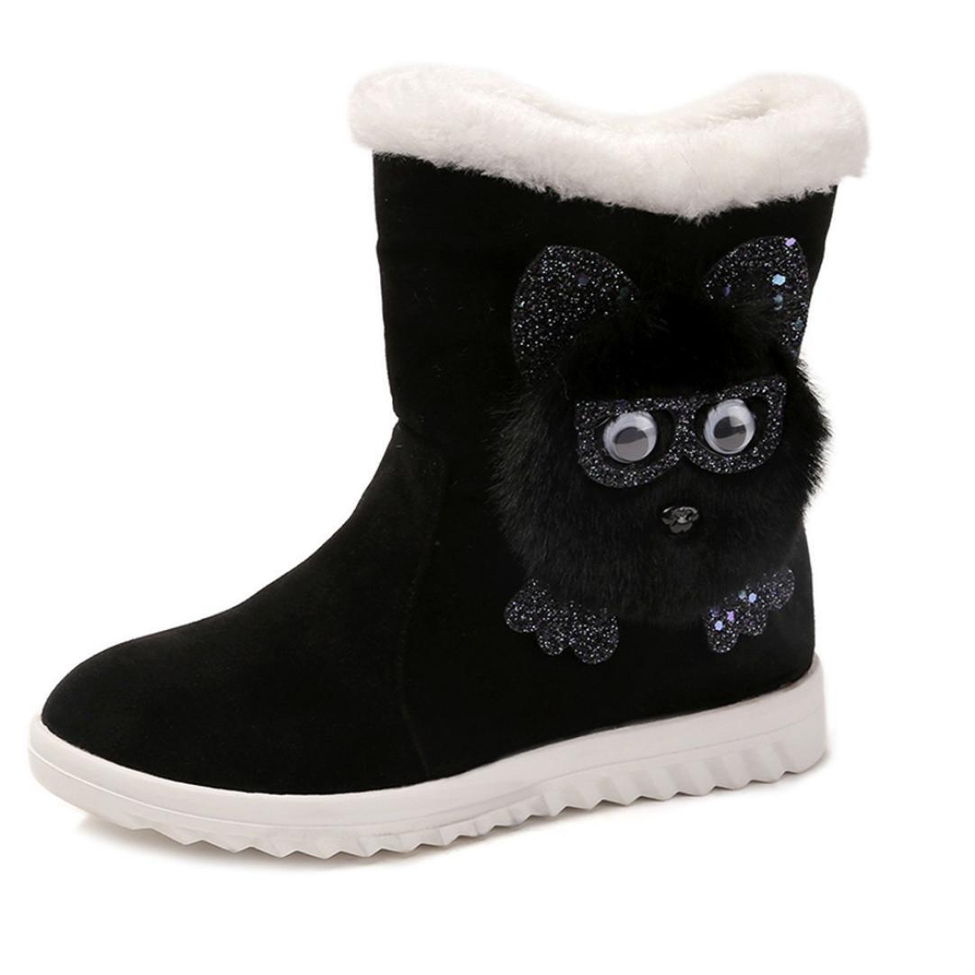 Women's Girls Low Wedge Biker Boots Warm Plush Outdoor Flat Owl Combat Shoes Waterproof Classic Cozy Wedge Booties Martin Shoes Best Gift (Black, 38)