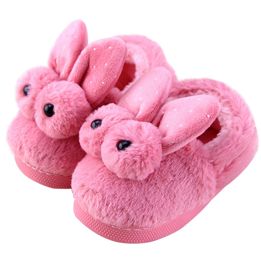 Bootie Slippers Warm Fuzzy Bunny Cute Pink Pompom Girls Slippers Toddler