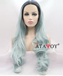 ATAYOU ®Rizado Seda Largo Ombre Sintético encaje Peluca Delantera+Casquillo Peluca (Azul claro