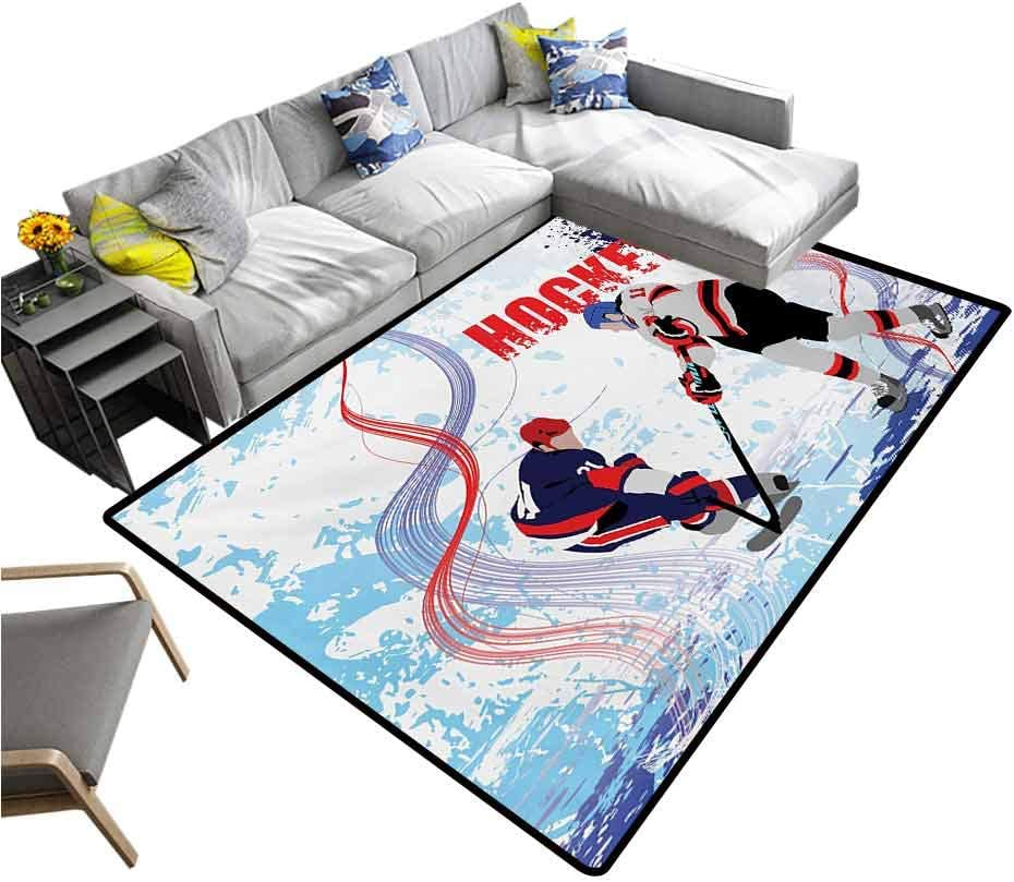 Hockey Living Room Floor Carpets Two Ice Hockey Players in Cartoon Style on Grunge Abstract Skating Rink Backdrop Carpet for Home Decor Multicolor (6'6