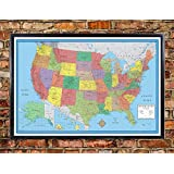 24x36 United States, USA, US Classic Elite Push Pin Travel Wall Map Foam Board Mounted or Framed (Framed Black)