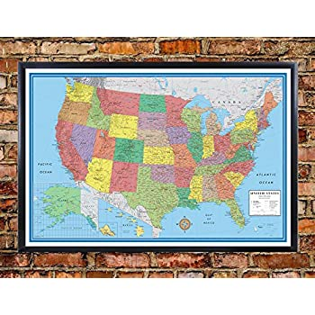 Amazoncom USA United States Map Wall Chart Poster Cork Pin Memo - Framed us map