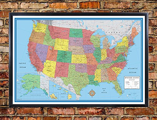 24x36 United States, USA, US Classic Elite Push Pin Travel Wall Map Foam Board Mounted or Framed (Framed Black) (Foam Usa Map)
