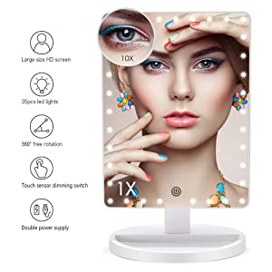 Large Lighted Makeup Mirror, X-Large Model Vanity Mirror with Lights and 10X Magnification, Light Up Mirror with 35 LED Lights, Dimmable Touch Screen Desk Mirror Tabletop