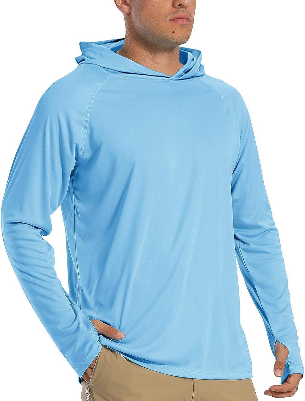 Mens Sun Protection Shirt Long Sleeve with Hoodie UPF 50 Rashguard Outdoor Fishing Shirts