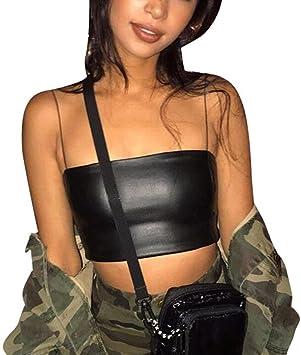 Camiseta de Tirantes para Mujer,Venmo Sexy Mujeres de Moda de Corto Tanque Tops Chaleco de Cuero de la Camisa de Blusa de Hombro Halter: Amazon.es: Deportes y aire libre