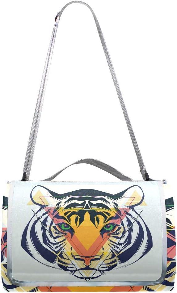 XINGAKA Coperta da Picnic Tappetino Campeggio,Natura Selvaggia Art Illustration dei Modelli Etnici di Tiger with African Tribal Icon,Giardino Spiaggia Impermeabile Anti Sabbia 2