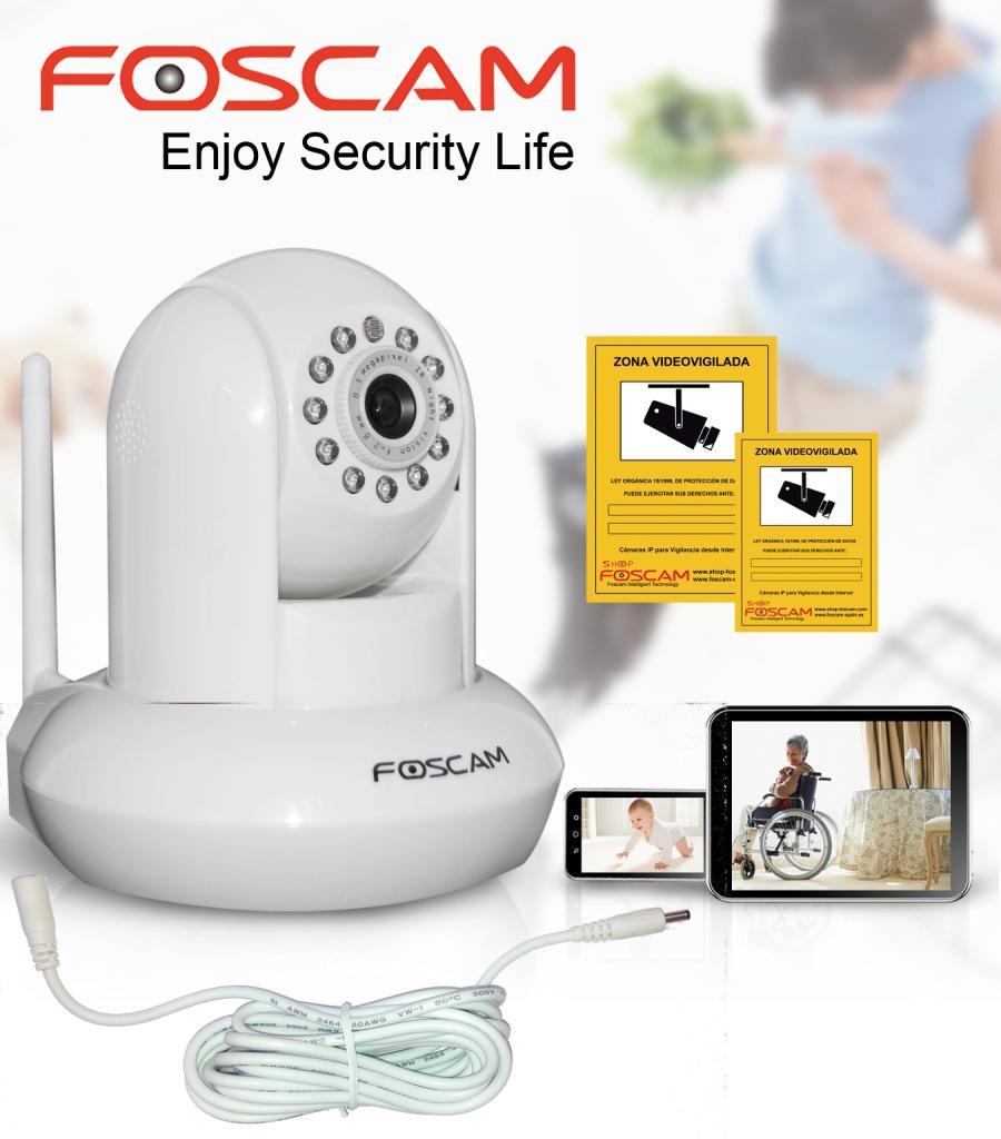 Foscam FI8910W Cámara IP Blanca con audio bidireccional y visión nocturna, con cable prolongador de 3ml y carteles de zona vigilada de regalo.