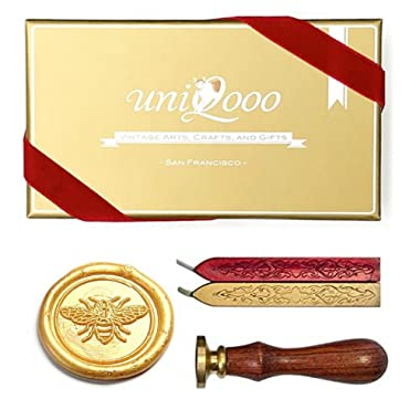 UNIQOOO Arts & Crafts Vintage Little Bee Wax Seal Stamp Kit- Wine Red & Royal Gold Wax Sticks with Wicks- Exceptional Christmas Gift Idea for Artistic Types, Bee Lovers, and Everyone In-between