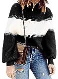 Leslady Mujer Suéter Raya Jerseys De Punto Cuello de Tortuga Manga Larga Suelto Prendas de Punto