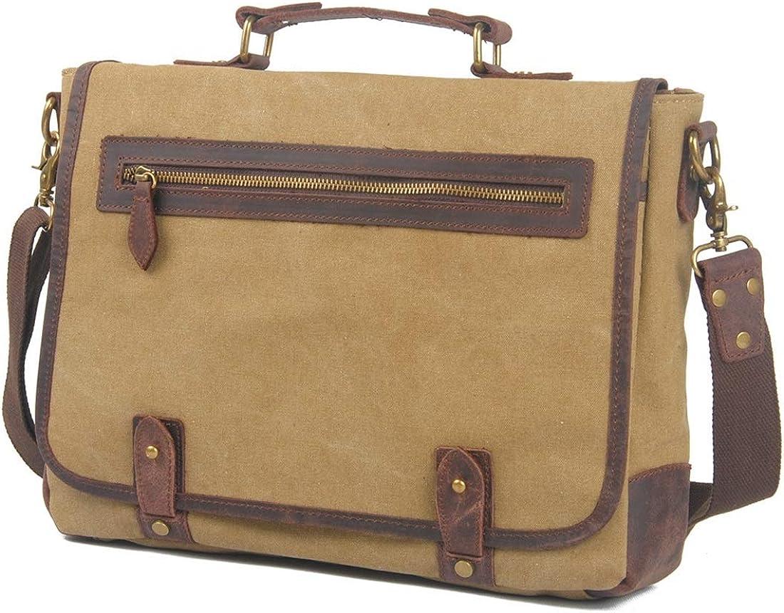 Abiliyy Simple Retro Zipper Waterproof Canvas Briefcase Shoulder Bag Messenger Bag Color:green for Men