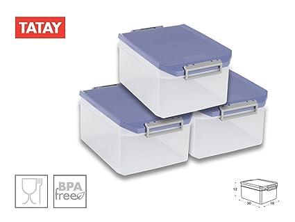 TATAY 1150207 Lote de 3 Cajas Multiusos 4.5 L. Azul Paloma