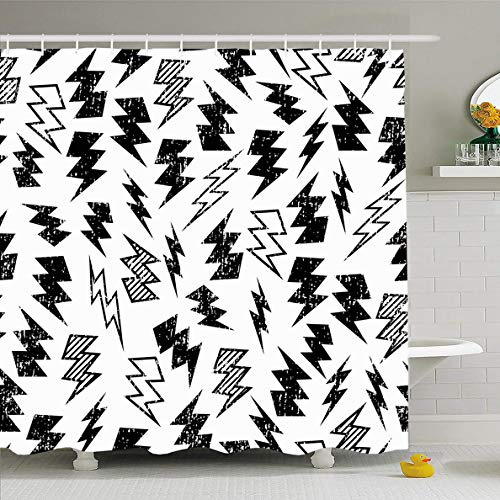 - Ahawoso Shower Curtain 72 x 78 Inches Thunder Kid Black White Distressed Lightning Bolt Abstract Thunderbolt Pattern Distress Skate Flash Waterproof Polyester Fabric Bathroom Set with Hooks