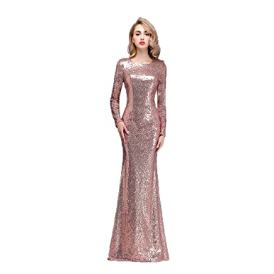Honey Qiao Rose Gold Modest Bridesmaid Dresses Long High Back Prom Party Gown