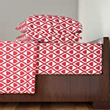 Roostery Red And White 4pc Sheet Set Valentina's Hearts In Red And White by Siya King Sheet Set made with