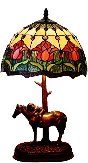 Tiffany Style Tulip Stained Glass Shade Table Lamp 12 Inch Antique Desk Lamp with Horse Carved Resin Base, Beside Living Room Bedroom Decor Lamp