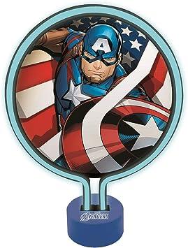 Lexibook Lampe Néon Avengers Captain America, Veilleuse