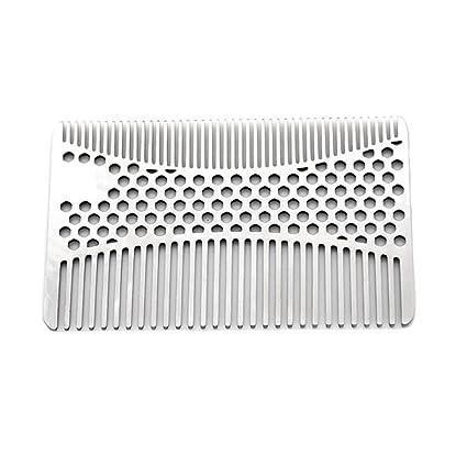 Anself Bigote Peine de Acero Inoxidable Barba Peine para Hombres Afeitado Bigote Cepillo Facial Cepillo de