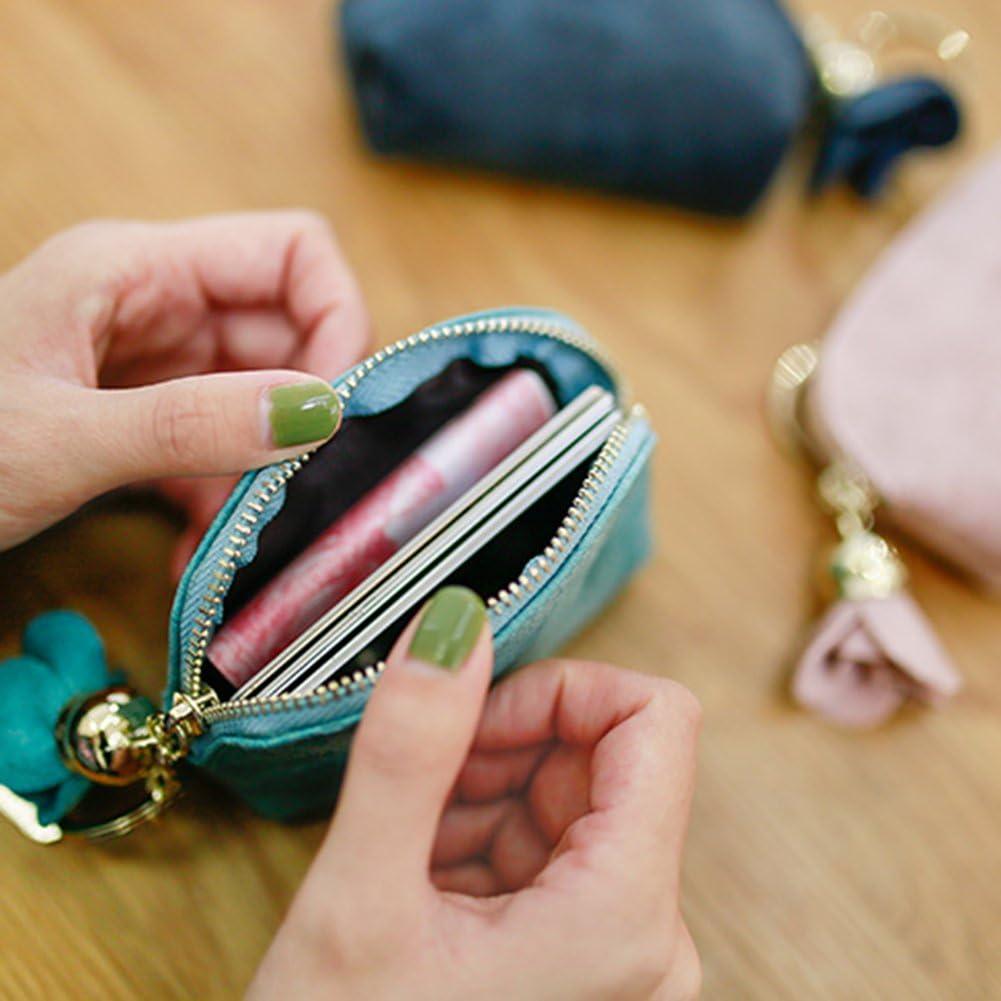 AchidistviQ Mode Simili Cuir Rose Pendentif Fermeture /Éclair Portefeuille Porte-Monnaie Femme Mini Sac