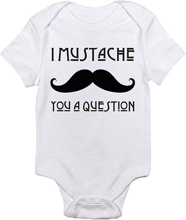 Promini Pelele para bebé Texto en inglés I Mustache You A Quesed, Divertido Body para bebé - Blanco - 9-12 Meses: Amazon.es: Ropa y accesorios