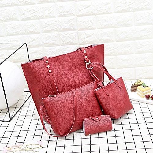 Mano Set Pezzi Borse Rosso A Portafoglio Tracolla Capacità Femminile Puro Moda Colore Di Grande 6 Borsa Dorame qnw18XgCBx