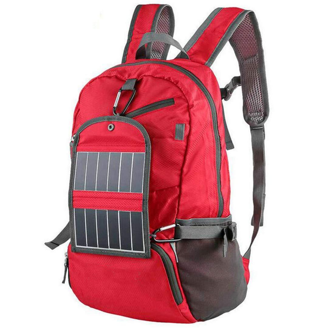 アウトドア スポーツ ソーラーパワーバックパック 折りたたみ式 軽量 ソーラーパネル 充電バッグ キャンプ ハイキング 旅行用 Other レッド B07KGBSMQ3