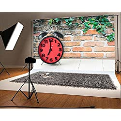Laeacco 7x5FT Vinyl Backdrop Red Alarm Clock Photography Background Clock on Table Brick Plant Wall Background New Year Christmas Festival Backdrop Rural Vintage Shoot Photo Studio Prop