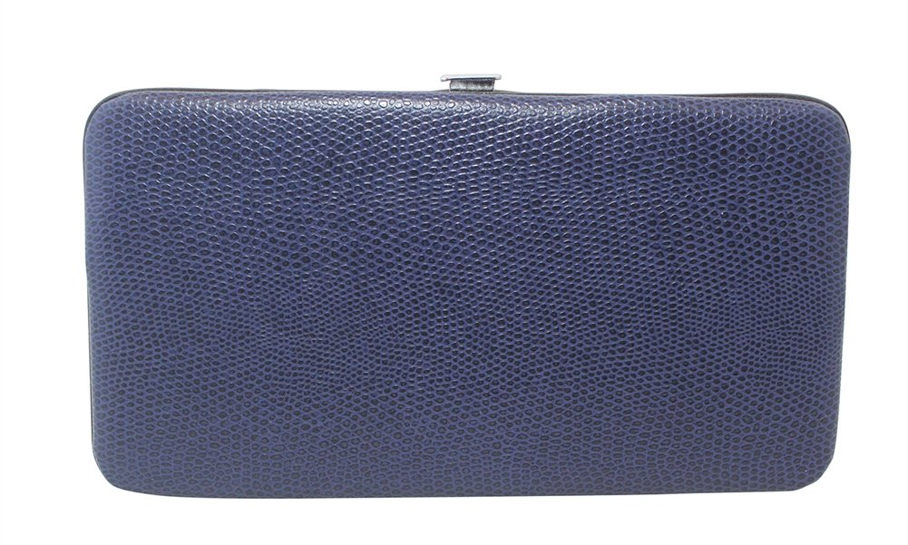 Chicastic Navy Blue Small Glossy Snakeskin Flat Hard Clutch Wallet