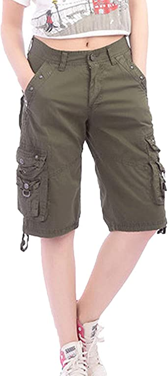 Hx Fashion Pantalones De Moda De Cortos Mujer Pantalones Casual Multi Tamanos Comodos Bolsillo Ropa Deportiva Hasta La Rodilla Bermudas Pantalones Cortos De Carga Moda 2019 Ropa De Mujer Amazon Es Ropa Y