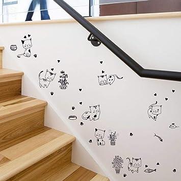 Dibujos Animados Gatos Pegatinas De Pared Cocina Baño Dormitorio Escalera Refrigerador Diy Tatuajes De Pared Decoración Para El Hogar Autoadhesivo: Amazon.es: Bricolaje y herramientas